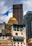 Cluster of buildings in downtown Boston, Massachusetts Royalty Free Stock Photos