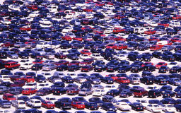 Cluster of Cars. Multitude of cars in parking lot Stock Image