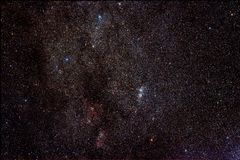 Cluster chi-h in constellatie Perseus stock foto's