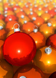 Cluster of christmas tree balls. Red, orange, yellow Royalty Free Stock Photos