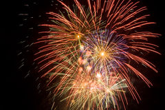 Cluster of colorful fireworks Royalty Free Stock Images