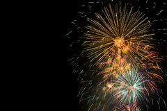 Cluster of colorful fireworks Stock Photo