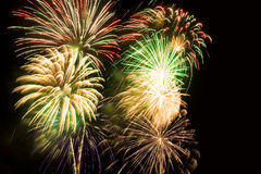 Cluster of colorful fireworks Royalty Free Stock Image