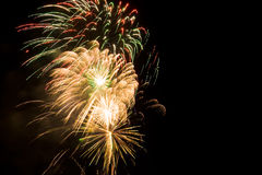 Cluster of colorful fireworks Royalty Free Stock Photography