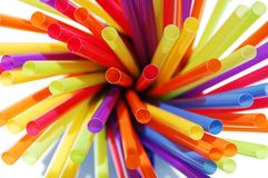Cluster of colorful straws Stock Photo