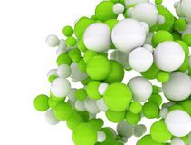 Cluster of 3d spheres. White and green spheres isolated on white background Royalty Free Stock Image