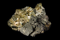 Cluster of golden pyrite crystals Stock Photography