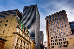 Cluster of highrises in downtown Baltimore, Maryland. Stock Photography