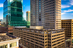 Cluster of highrises seen from a parking garage in downtown Balt Stock Image