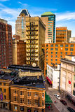 Cluster of highrises seen from a parking garage in downtown Balt Royalty Free Stock Image