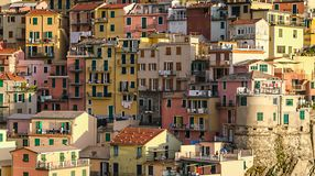Cluster of houses Manarola village in Cinque Terre, Italy stock photography