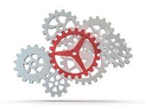 A cluster of interlocking metal gears. 3D. Rendering stock illustration