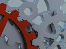 A cluster of interlocking metal gears. 3D. Rendering vector illustration