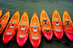 A cluster of kayaks on a Sydney beach Royalty Free Stock Image