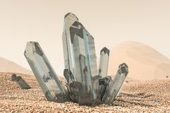 A cluster of magic crystal gather together in the desert, 3d rendering. Computer digital background magical shine gem structure stone geological beautiful vector illustration