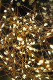 Cluster of micro LED string lights. Shallow depth of field, out of focus blurred.  stock photography