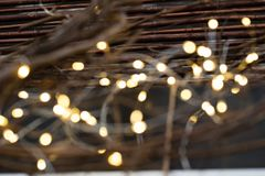 Cluster of micro LED string lights. Shallow depth of field, out of focus blurred.  stock image