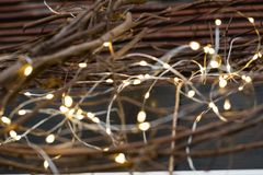 Cluster of micro LED string lights. Shallow depth of field, out of focus blurred.  royalty free stock photos