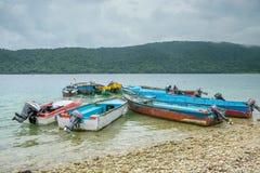 Cluster of Motor boats at sea coast Stock Image