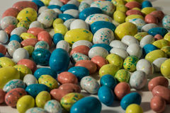 Cluster of multi-colored candy easter eggs Stock Photo
