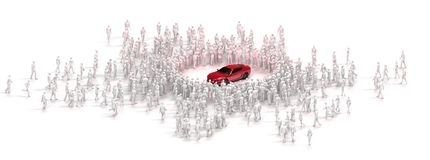 Cluster of people admiring car Stock Photography