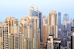 Cluster of Residential Buildings. A close up of a cluster of residential buildings in the Marina and Jumeirah Beach Residence Stock Image
