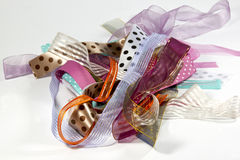 Cluster of Ribbons with Variety of Textures Stock Photo