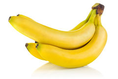 Cluster ripe banana. On white background Royalty Free Stock Photo