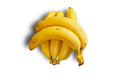 The cluster of ripe large bananas on white background with shadow Royalty Free Stock Images