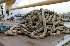 Cluster of rope on board of ship S.S. Hellas Liberty in haven of Piraeus. Greece stock photos