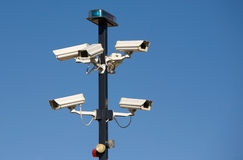 Cluster of Security Cameras. At entrance to secure area Stock Images