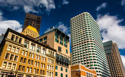 Cluster of skyscrapers in Boston, Massachusetts. Stock Photos