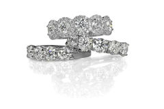 Cluster stack of diamond wedding engagment rings Stock Photography