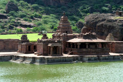 Cluster of Temples. Group of Bhuthanatha Temples on eastern end of lake at Badami, Karnataka, India, Asia Stock Photos