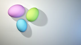 Cluster of three pastel colored Easter eggs Royalty Free Stock Image