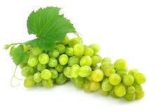 Cluster van groene druif die op wit wordt geïsoleerdn stock afbeelding