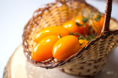 Cluster yellow tomato in a basket Stock Photos