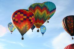 Clustered Hot Air Balloons over Reno, NV stock photography