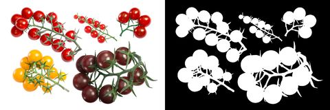 Clusters of cherry tomatoes, paths, top stock photo