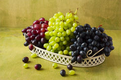 Clusters of dark, red and green grapes on a white tray on a gree Stock Photography