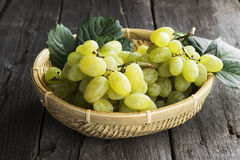 Clusters of green grapes in wattled bowl on a dark wooden background.  royalty free stock photography