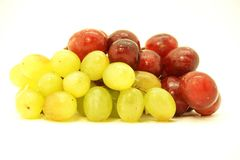 Clusters of white and black grapes. Royalty Free Stock Photo