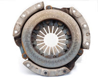 Clutch assembly housing. Clutch plate just removed from a car showing wear out and dust springs Royalty Free Stock Images