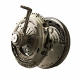 Clutch assembly kit with flywheel isolated. Clutch assembly with flywheel from modern passenger car with manual transmission isolated Stock Image