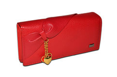Clutch bag. Red, closeup, isolated on a white background Stock Images