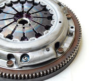 Clutch part isolate on white. Background Royalty Free Stock Images