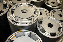 Clutch parts background. Clutch parts metal pieces in production process Stock Photos