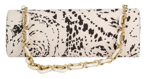 Clutch with a print. Isolated on a white background royalty free stock photo