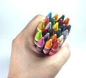 Clutching Crayons Stock Image