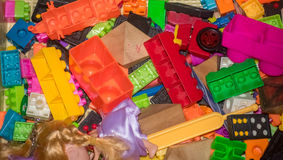 Clutter Toy parts in the house Royalty Free Stock Images